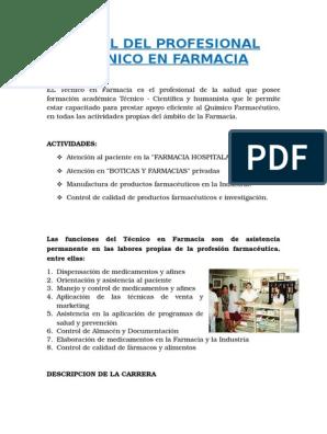 funciones del personal tecnico de farmacia