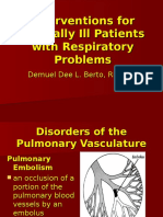 Interventions for Critically Ill Patients With Respiratory Problems Handouts