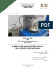 laboratorio Penetración de los materiales bituminosos