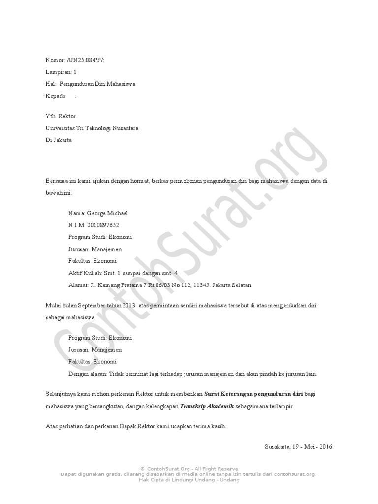 Contoh Surat Pengunduran Diri Dari Kuliah - Kumpulan ...