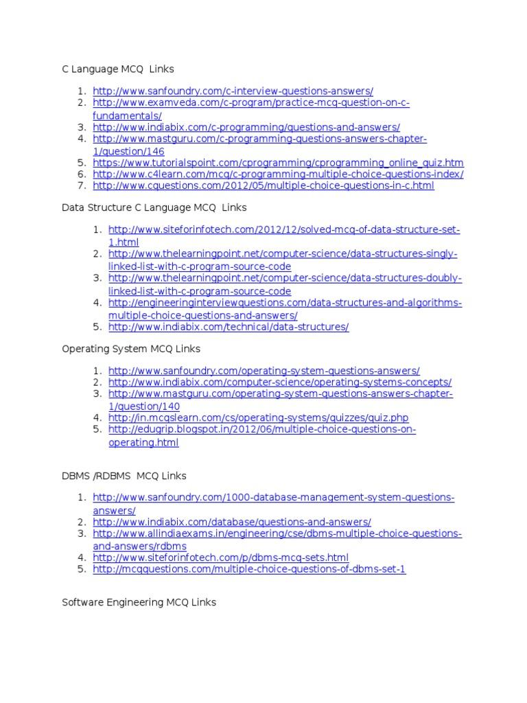 mcq practice links