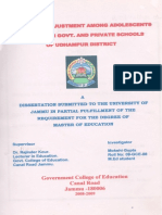 A Study of adjustment among adolescents studying in Govt. and Private schools of Udhampur District By:- Mokshi Gupta