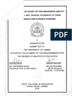 A comparative study of the reasoning ability among HR.SEC. School students in their commerce and science stream by Milan Sharma
