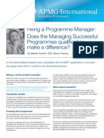 Hiring a Programme Manager - Does the MSP Qualification Make a Difference