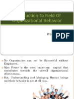 Introduction to Field of Organizational Behavior