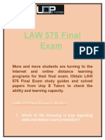 Uop E Tutors - LAW 575 Final Exam answers & LAW 575 Week 4
