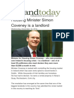 Housing Minister Simon Coveney is a Greedy Corrupt  Landlord and a Traitor To Irish Citizens of Ireland