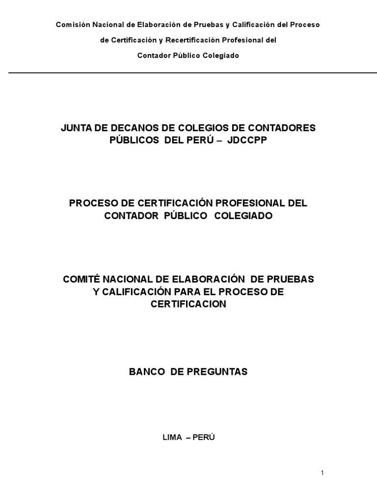 Banco de Preguntas Para La Certificación Profesional del contador ...