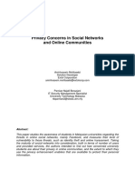 Privacy Concerns in Social Networks and Online Communities