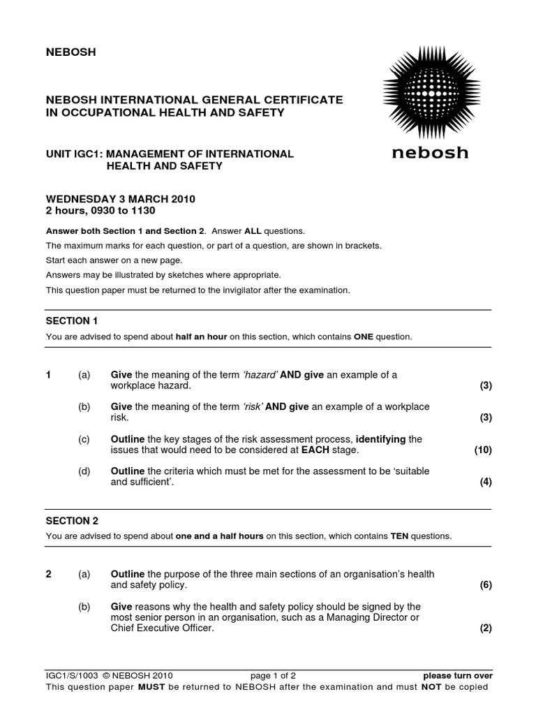 Nebosh Igc1 Past Exam