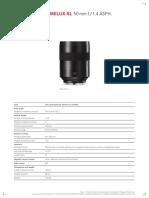 Datenblatt Summilux SL 50mm ASPH e