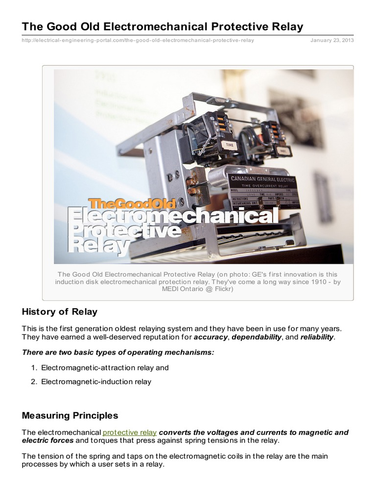 ElectricalEngineeringportalcomThe Good Old Electromechanical