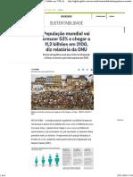 População Mundial Vai Crescer 53% e Chegar a 11,2 Bilhões Em 2100, Diz Relatório Da ONU - Jornal O Globo