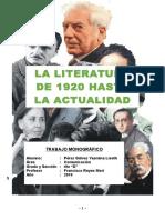 Monografia - La Literatura Desde 1920 Hasta La Actualidad
