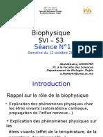 Biophysique Séance 01 Du 10 Octobre 2016