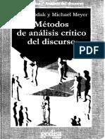 Metodos de Analisis Critico Del Discurso - Wodak y Meyer