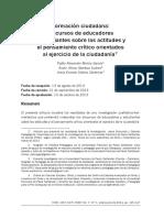 2013_Formación Ciudadana_discursos de Educadores y Estudiantes Sobre Las Actitudes y El Pensamiento Crítico Orientados Al Ejercicio de La Ciudadanía