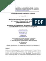 2014_ebsco Motivación y disposiciones_ enfoques alternativos para explicar el desempeño de habilidades de pensamiento critico.pdf