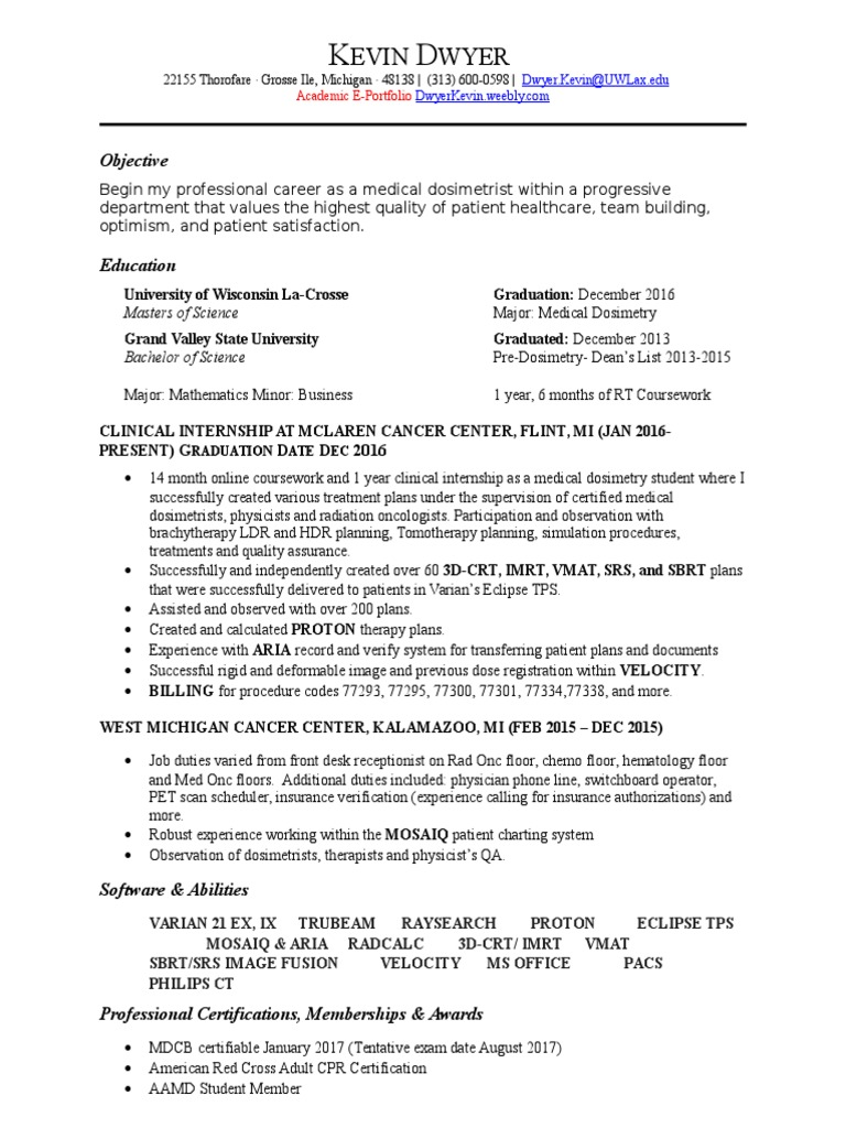 Resume kevin dwyer radiation therapy health sciences xflitez Gallery