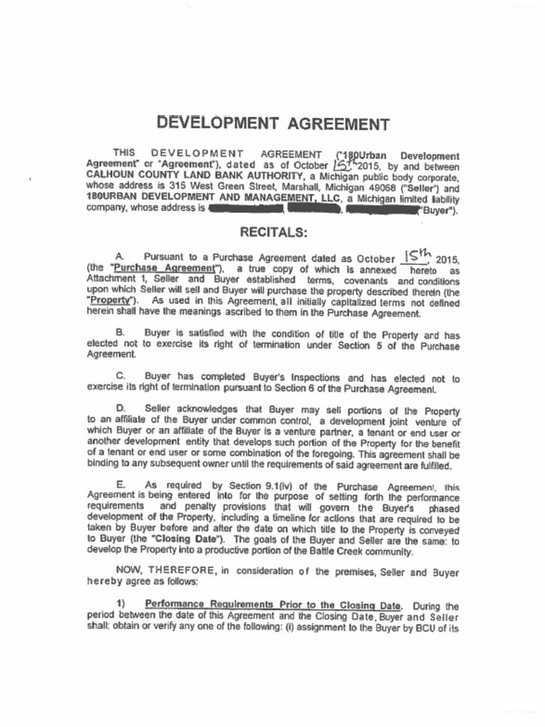 Development And Purchase Agreement 180urban And Calhoun County