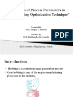 Analysis of Process Parameters in Hobbing Using
