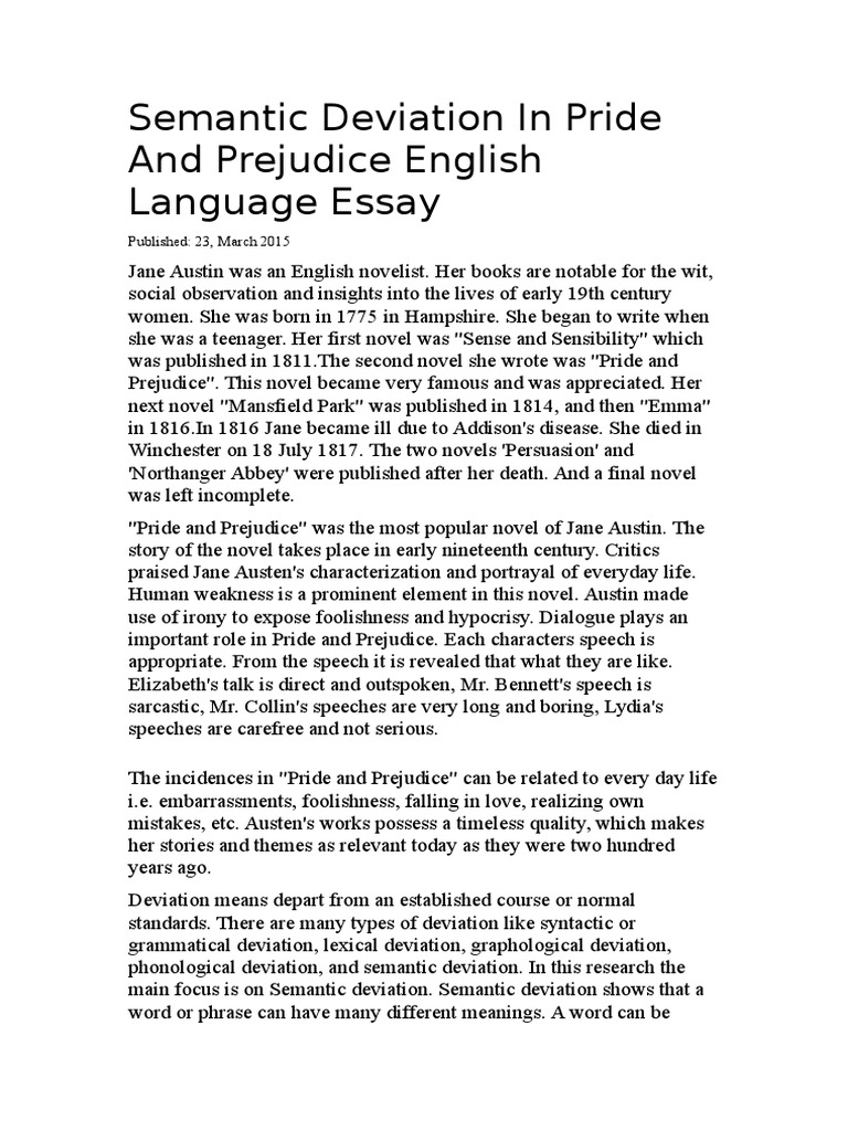 English Essay Friendship Semantic Deviation In Pride And Prejudice English Language Essay  V Semantic Deviation Thesis Statement Examples Essays also Argumentative Essay Examples High School English Language Essay Entertainment Director Cover Letter  Research Proposal Essay Example