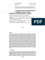 Discharge Measurement With Salt Dilution Method in Irrigation Canals - Direct Sampling and Geophysical Controls