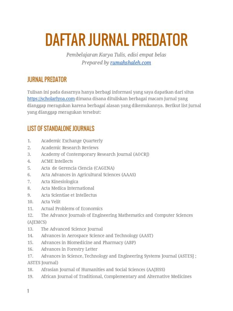 Daftar Jurnal Predator   Pharmacology   Engineering