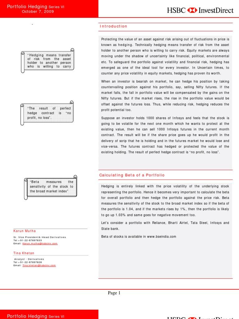 Portfolio Hedging | Hedge (Finance) | Futures Contract