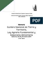 Memoria Cumbre Nacional de Tierra y Territorio Ley Agraria Fundamental y Soberania Alimentaria