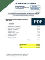 Cotizacion Para Mantenimiento Preventivo de Winche Cantamessa (1)