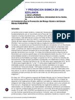 Sismicidad y Prevencion Sismica en Los Andes Venezolanos