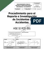 Proc. Reporte e Investigacion de Inc. y Acc. Hse Si Pcd 001