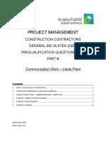 Project Management PQQ Part B - Communication Work - Inside Plant