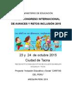 Primer Congreso Internacional de Avances y Retos Inclusión 2015 2