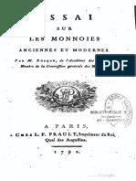 Essai sur les monnoies anciennes et modernes / par Rochon