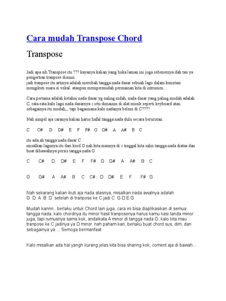 Cara Mudah Transpose Chord