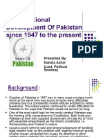 Constitutional Development of Pakistan Since 1947 to The