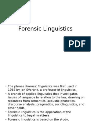 Forensic Linguistics Linguistics Human Communication