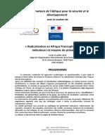 PROGRAMME Séminaire Radicalisation en Afrique Francophone LOA 11 Juillet 2016 OIF Paris