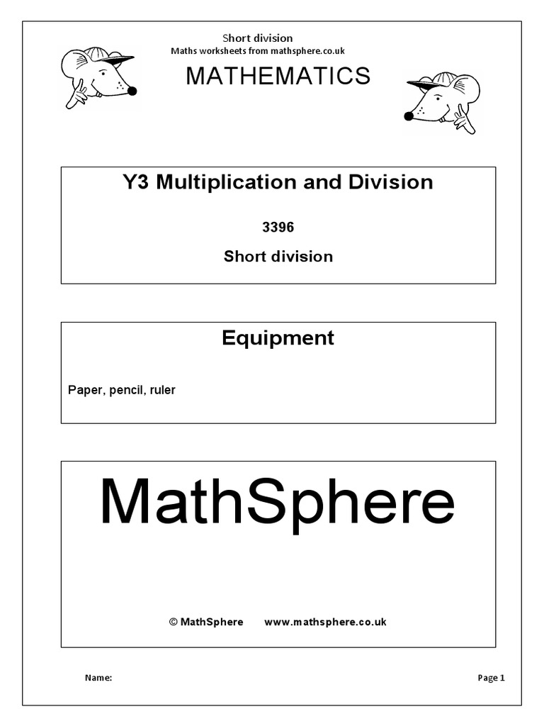 Worksheets Short Division Worksheets year 3 2 short division 1