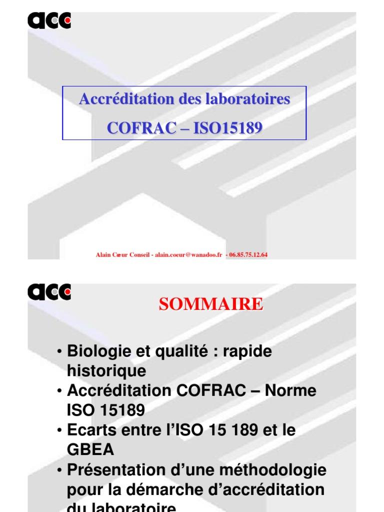 ISO TÉLÉCHARGER LA 15189 NORME
