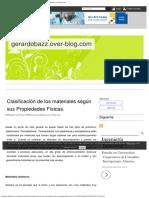 Clasificación de Los Materiales Según Sus Propiedades Físicas. - Gerardobazz