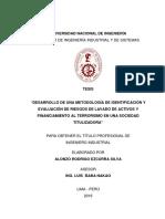 Desarrollo de Una Metodología de Identificación y Evaluación de Riesgos de Lavado de Activos y Financiamiento Al Terrorismo en La Sociedad Titulizadora