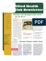Allied Health Club  May Newsletter