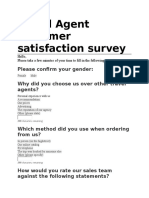 Travel Agent Customer Satisfaction Survey