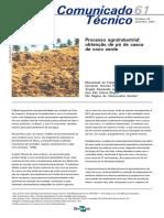Processo Agroindustrial - Obtenção de Pó de Casca de Coco Verde