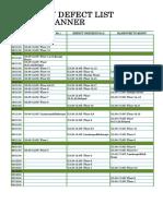 Defect List& Handover Calendar