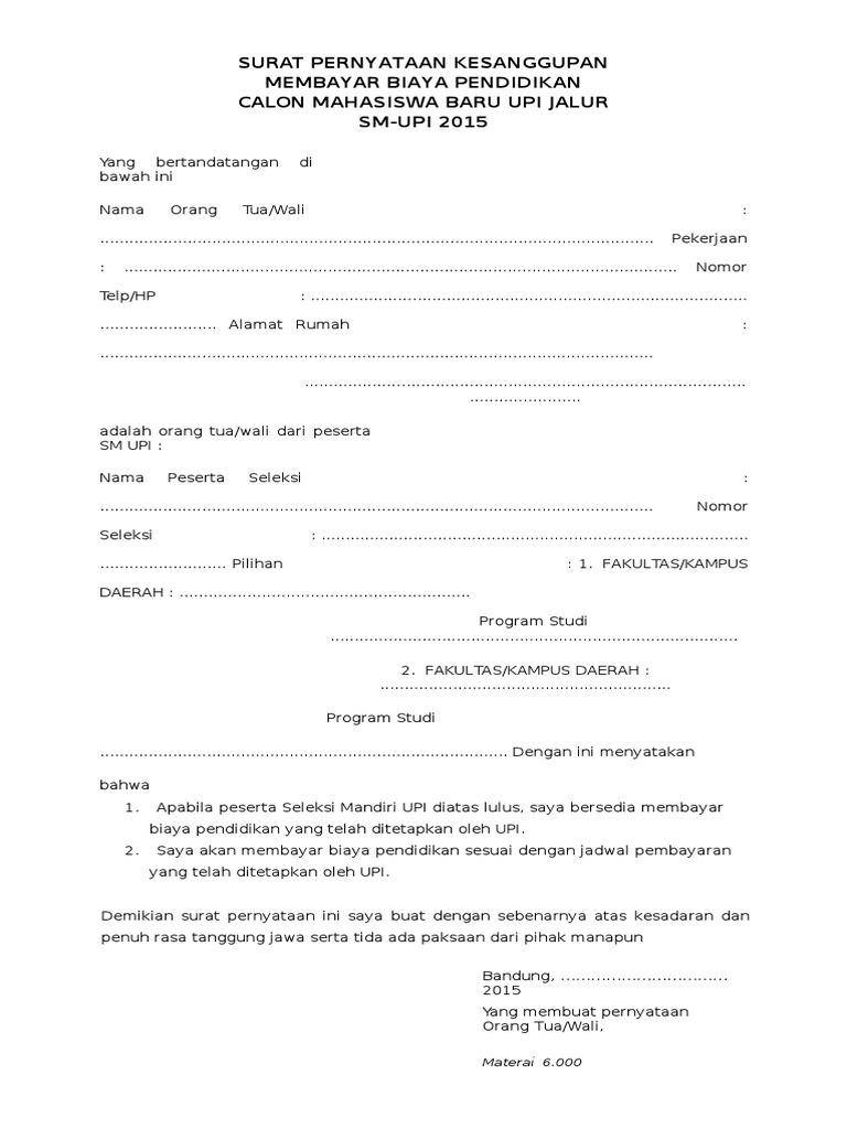 Contoh Surat Pernyataan Kesanggupan Membayar Angsuran Bank Bagi Contoh Surat