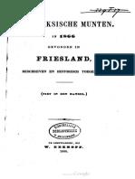Angelsaksische munten, in 1866 gevonden in Friesland, beschreven en historisch toegelicht / [F. de Haan, W. Eekhoff]